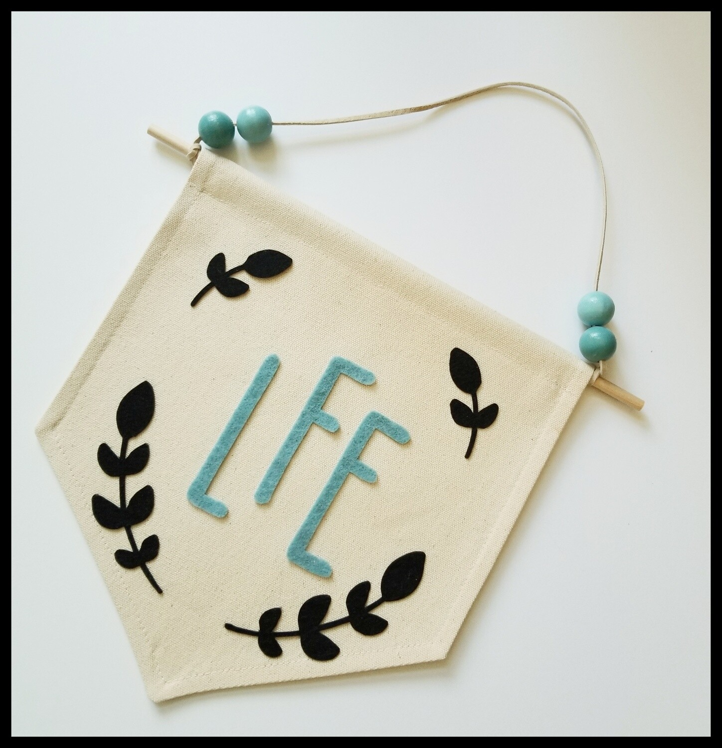 Monogram Wall Banner with Vine, Personalized Handmade Baby Gift, Canvas Wall Hanging with Felt Images, Nursery Decor, Baby Gift, FREE SHIPPING