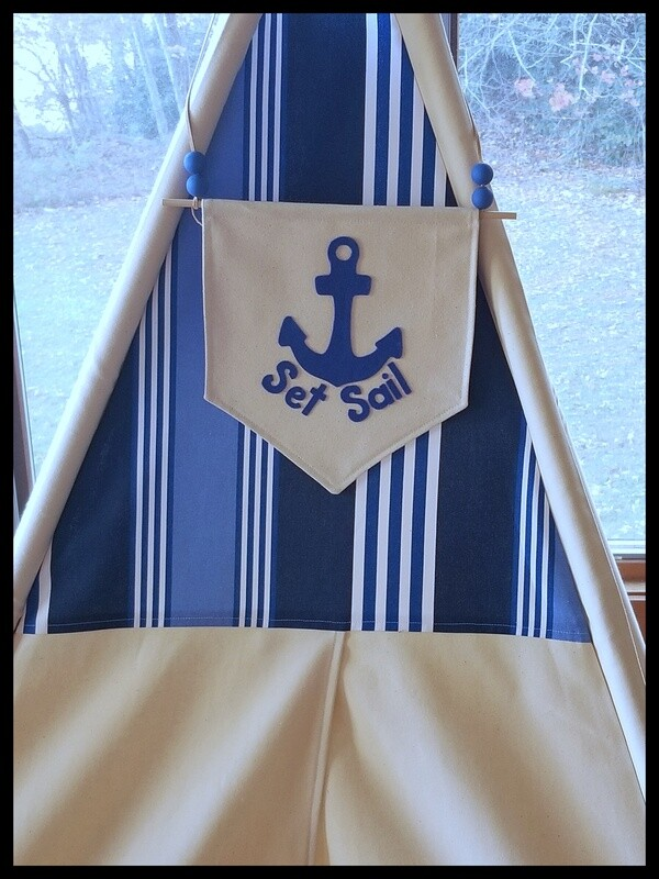 Set Sail Teepee, Play tent, Nautical Theme Kids' Room Decor, Cotton Canvas Kids Play Tent