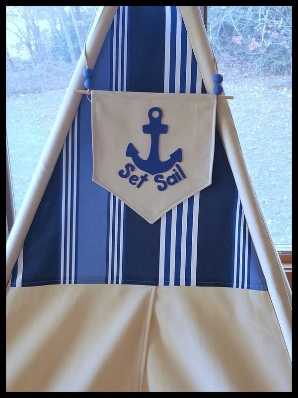 Set Sail Teepee, Play tent, Nautical Theme Kids' Room Decor, Cotton Canvas Kids Play Tent