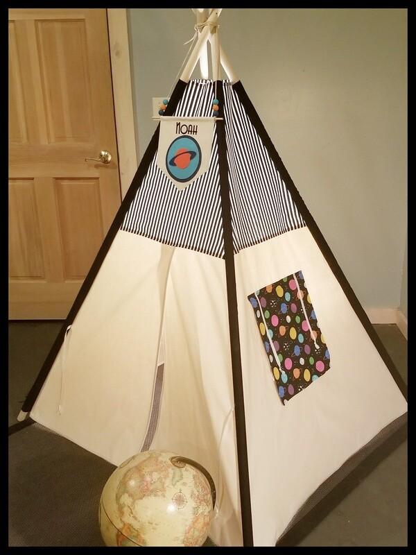 Superheros or Solar System Teepee, Cotton Canvas Kids Play Tent, Handmade Teepee, Tipi, Kids Room Decor