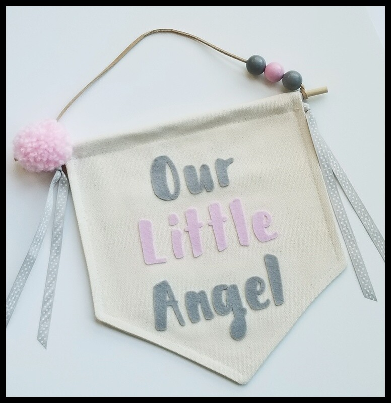 Our Little Angel Banner, Nursery Decor, Pink and Gray Nursery, Handcrafted Wall Hanging, Canvas Wall Banner, Baby Shower Gift, FREE SHIPPING