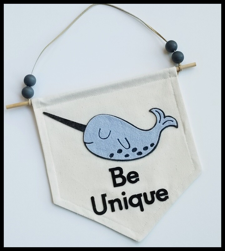Narwhal, Kids Room Decor, Wall Hanging, Handcrafted Canvas Hanging, FREE SHIPPING