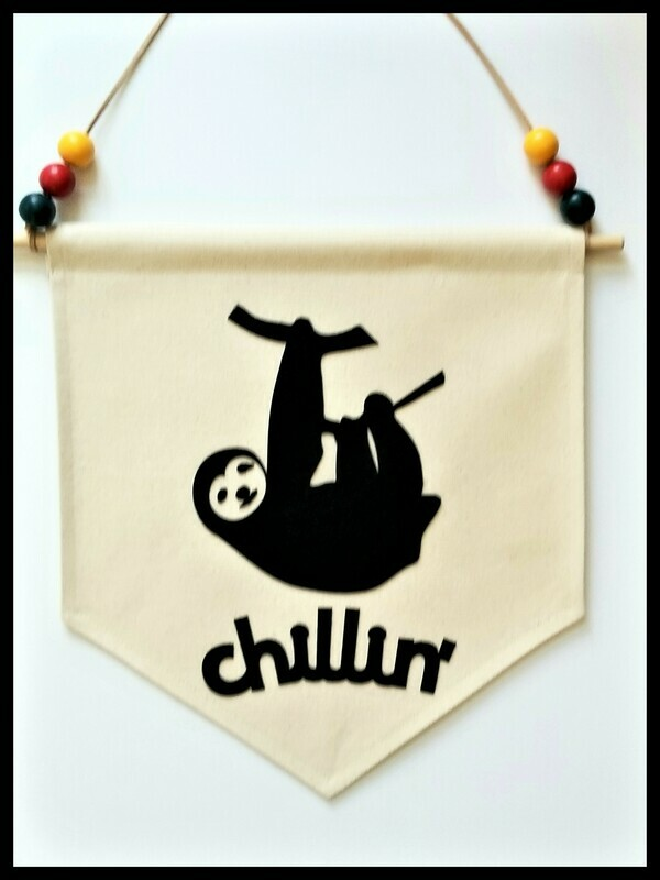 Sloth Wall Hanging, Kids Room Decor, Handcrafted Wall Banner, Canvas Wall Hanging, Chillin', FREE SHIPPING