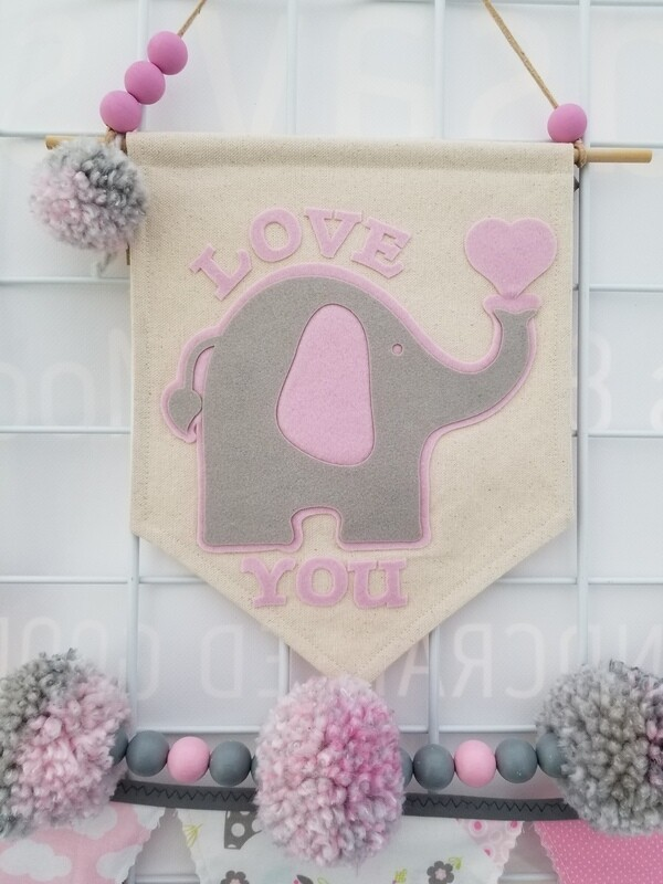 Love You Elephant Wall Banner, Decorative Banner, Baby Nursery  Decor, Handmade Canvas Banner, FREE SHIPPING