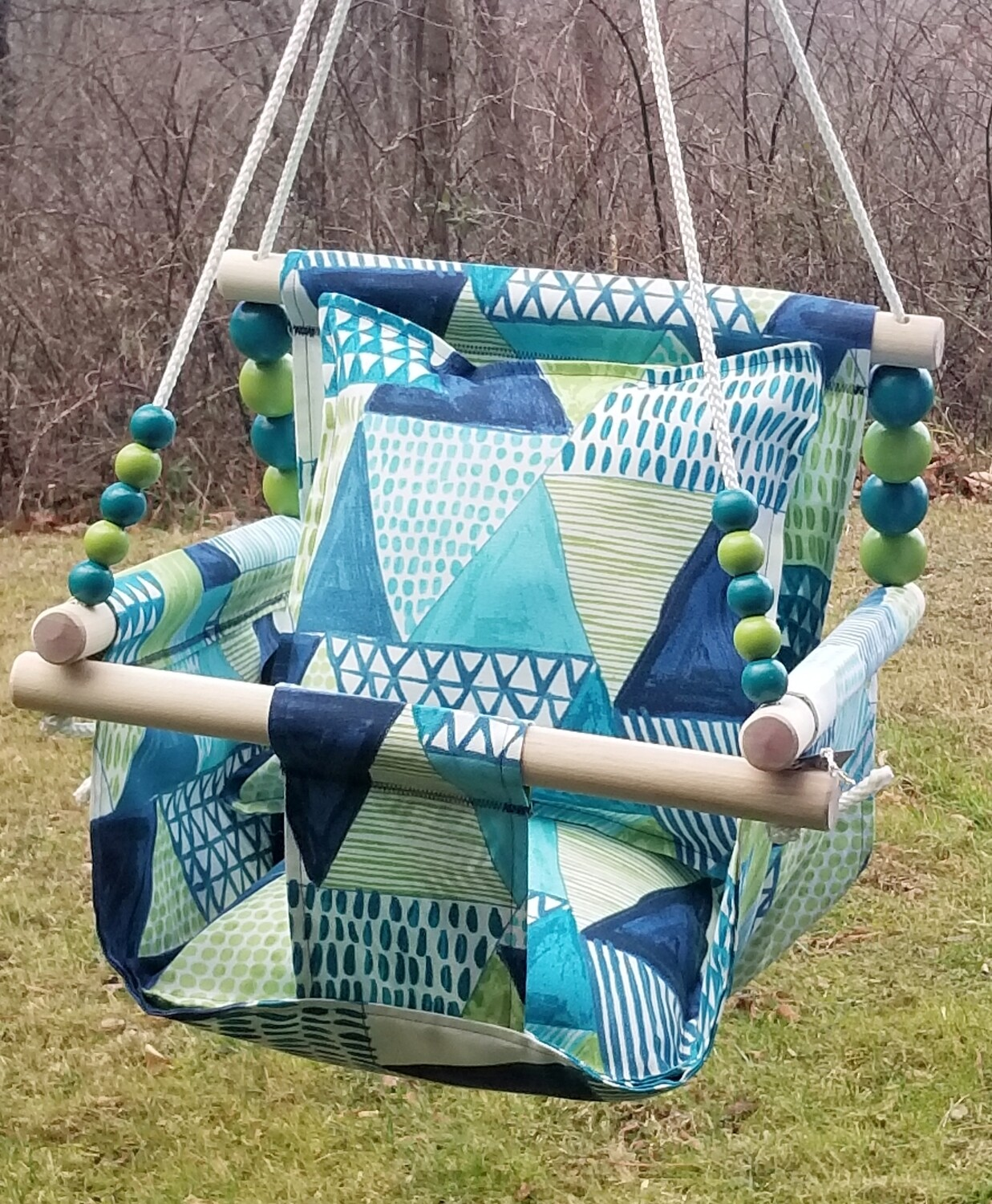 NEW Water-Resistant Baby/Toddler Swing, Indoor/Outdoor Swing, Wooden Baby Swing, Handmade Fabric Baby Swing, Baby Gift, BEST SELLER