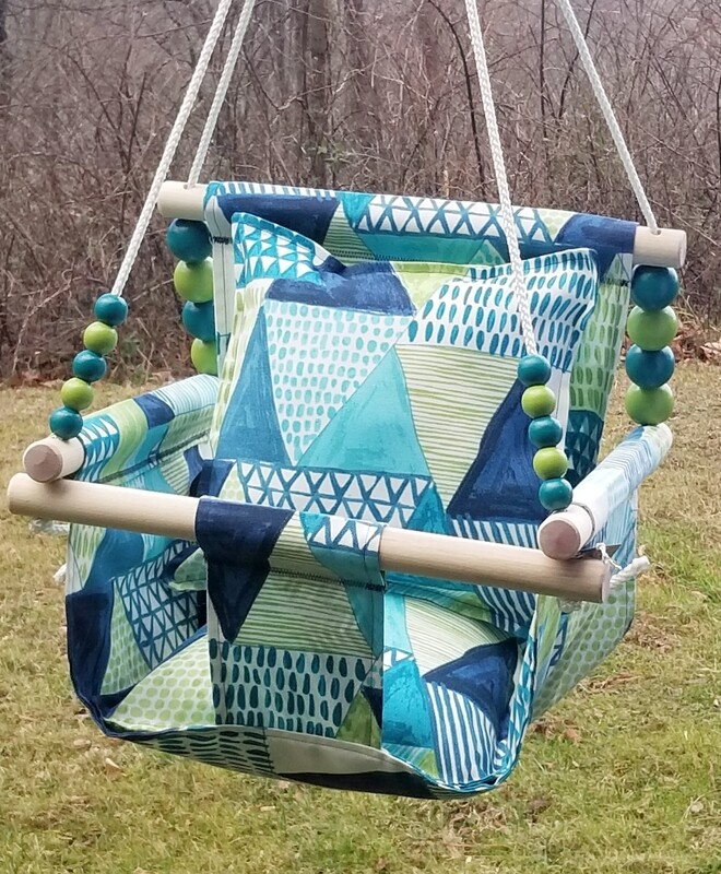 NEW Water-Resistant Baby/Toddler Swing, Indoor/Outdoor Swing, Wooden Baby Swing, Handmade Fabric Baby Swing, Baby Gift