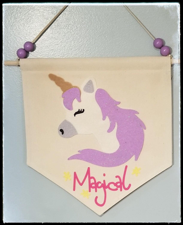 Unicorn Banner, Kids Room Decor, Unicorn Wall Hanging, Fabric Wall Hanging, FREE SHIPPING