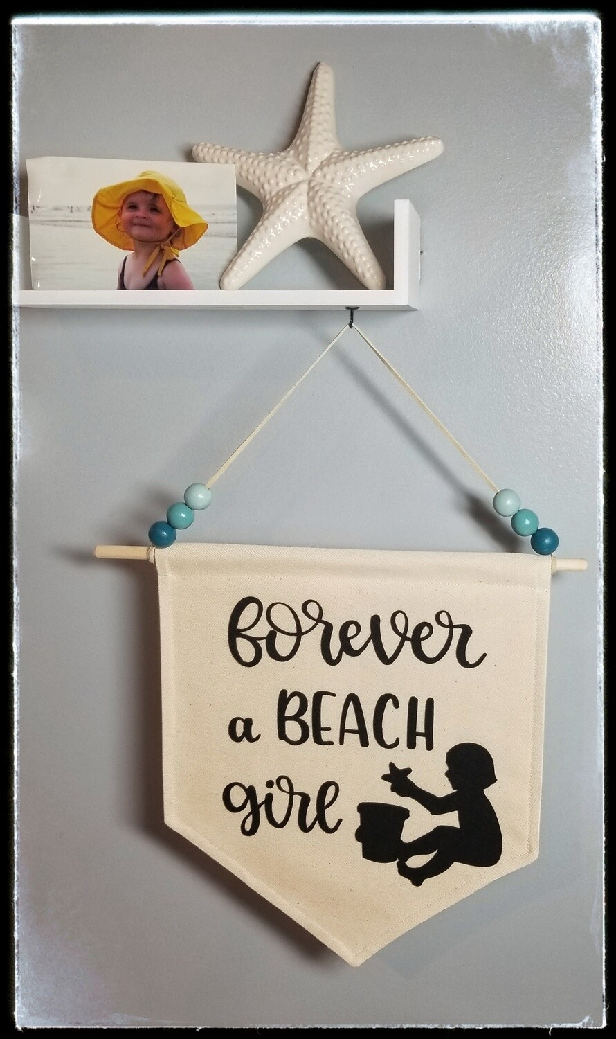 Handmade Wall Hanging,  Canvas Wall Banner, Beach Girl, Forever a Beach Girl, Kids Room Decor, Decorative Wall Hanging, FREE SHIPPING