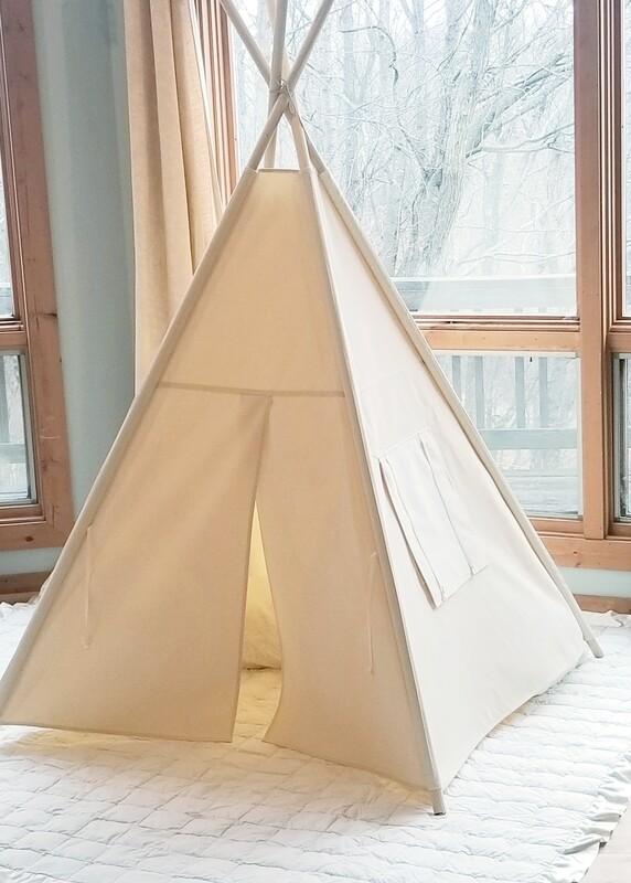 Kids Teepee,  Natural Teepee, Canvas Handmade Teepee, Play Tent, Tipi, Playroom Tent