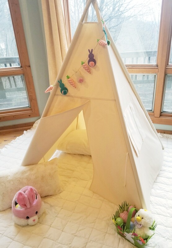The Seasons Teepee, Kids Teepee, Tipi, Play room decor, kids room decor, nursery decor, Natural Canvas Teepee, Home Decor, Cotton Canvas Kids Play Tent