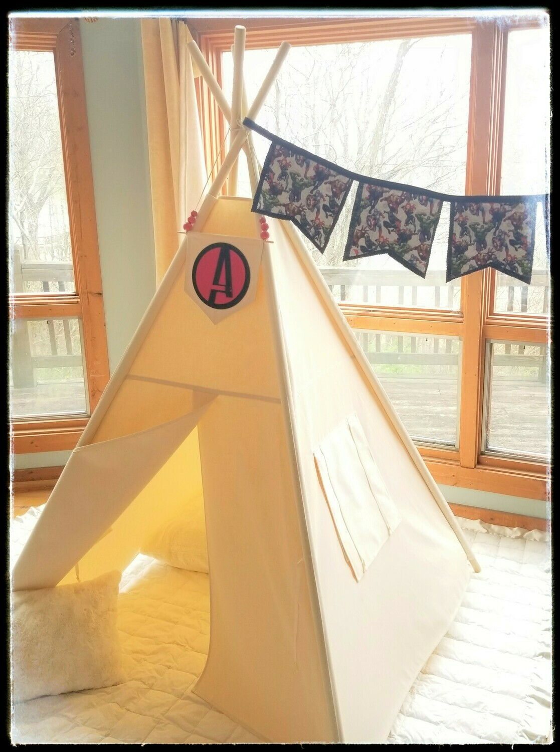 Avengers Teepee, Kids Teepee, Reading Nook,  Kids Room Decor, Playroom Tent, Cotton Canvas Kids Play Tent