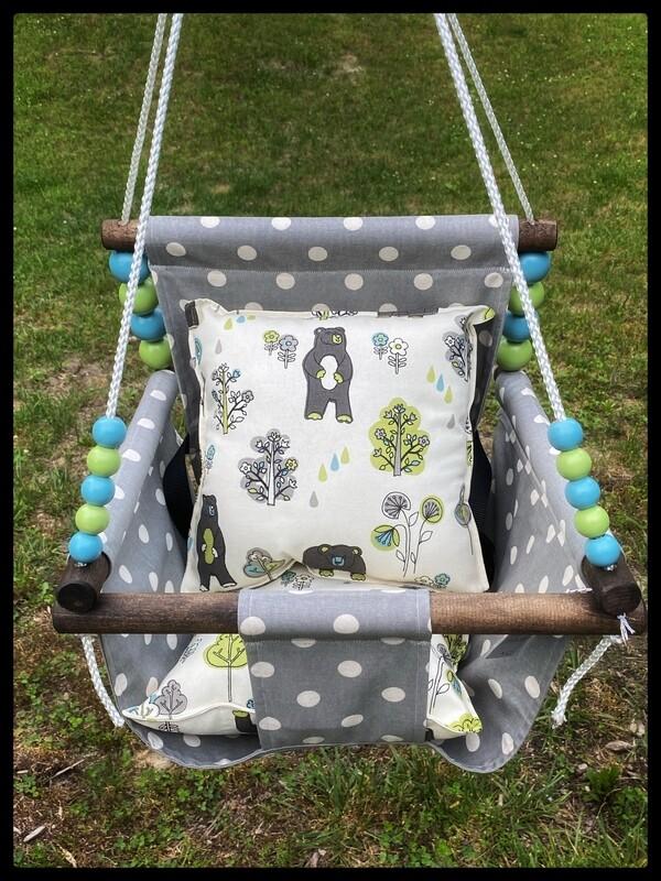 Baby Swing, High-Back, Handmade Baby Swing, Indoor/Outdoor Swing, Wood Baby Swing, Canvas Baby Swing, Toddler Swing, Baby Shower Gift, Child Birthday Gift,  BEST SELLER