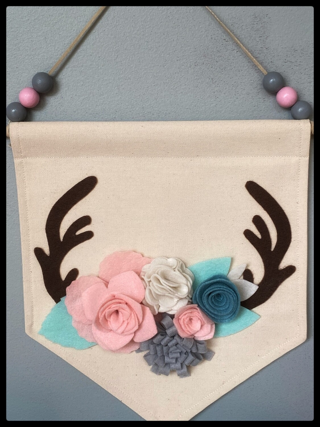 NEW Floral Antler Wall Art, Hanging Canvas , Deer Decor, Antler Art, Felt  Floral  Wall Decor, Handmade Canvas Wall Hanging