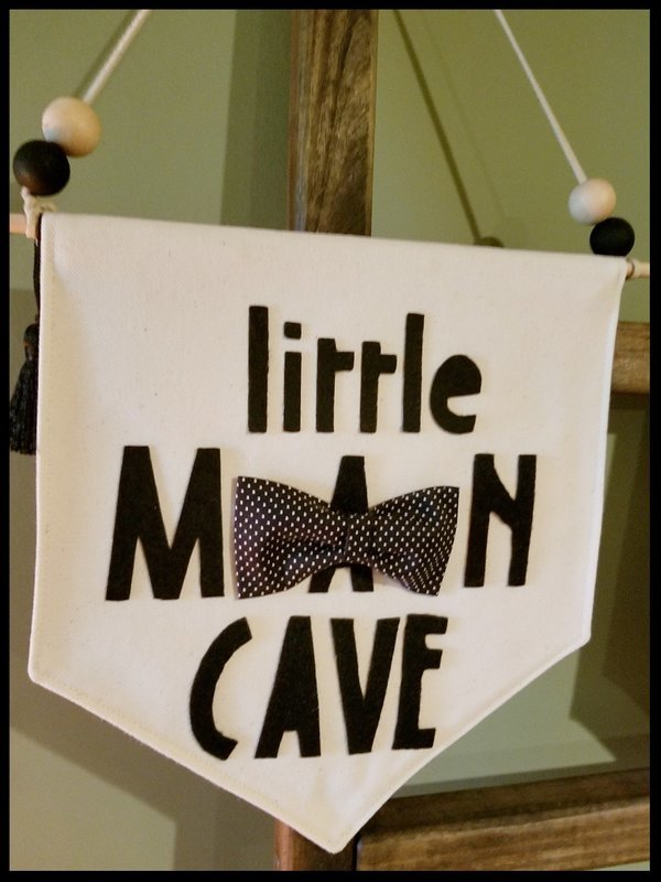 Little Man Cave Banner, Decorative Wall Banner, Handmade Canvas Banner with Bowtie, Kids Room Decor, Nursery Decor, Hanging Wall Banner, FREE SHIPPING