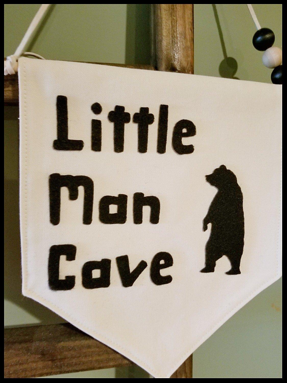 Little Man Cave Hanging Wall Banner, Bear Banner, Decorative Wall Banner, Woodland Nursery Decor, Woodland Kids Room Decor, FREE SHIPPING