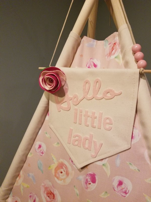 Hello Little Lady, Pretty Petal Pink Teepee, Play Tent, Reading Nook, Baby Nursery Decor, Shabby Chic Decor, Imagination Station, Kids Room Decor, Cotton Canvas Kids Play Tent
