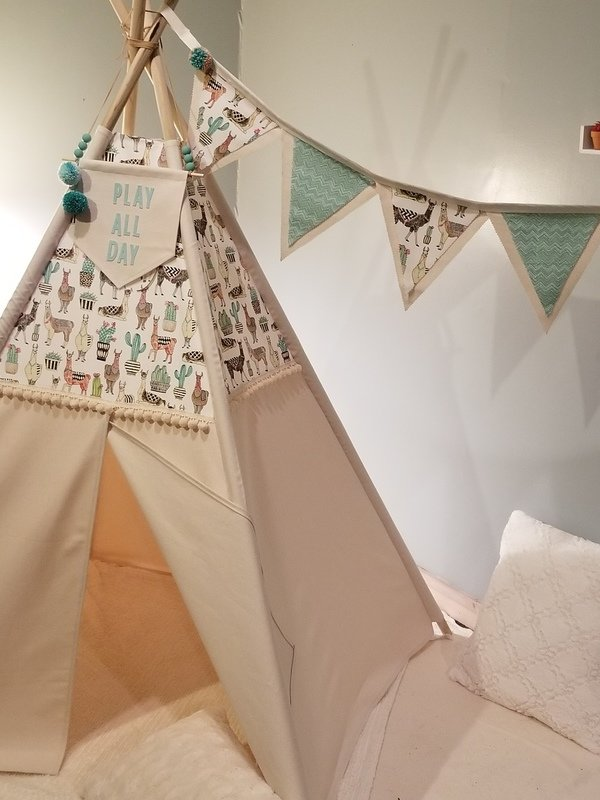 Llama Drama Teepee, Llama Brights, and Oh, My Llamas! Teepee, Play Tent, Reading Nook, Playroom, Kids Room Decor, Nursery Decor, Cotton Canvas Kids Play Tent