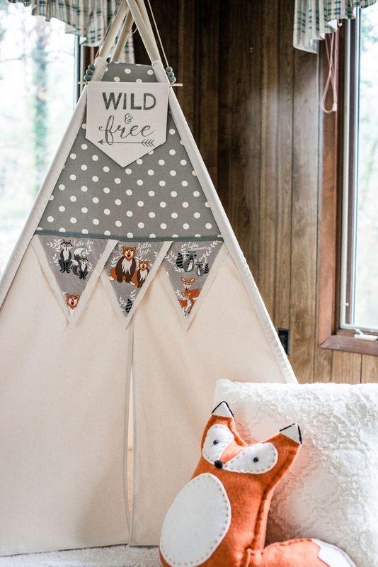 Gray Storm Dot Teepee, Play Space, Reading Nook, Wigwam, Play Tent, Kids Room Decor, Nursery Decor, Cotton Canvas Kids Play Tent