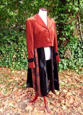 Rich Sable Brown and Black Velvet Cutaway Coat
