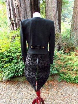 Women's Black Brocade Tailcoat