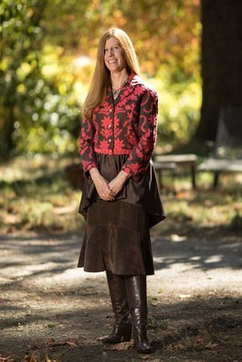 Fiery Red and Brown Embroidered Jacket