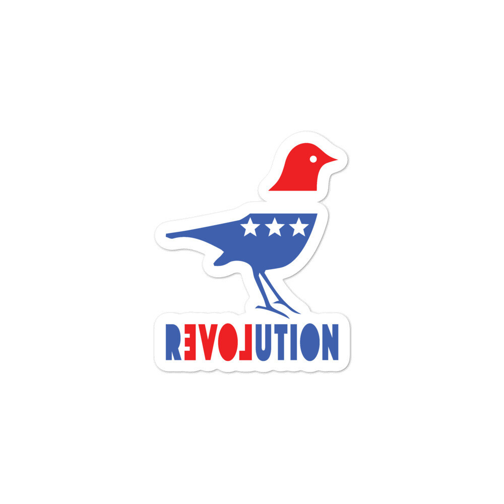 REVOLUTION Bird kiss-cut, Bubble-free vinyl sticker