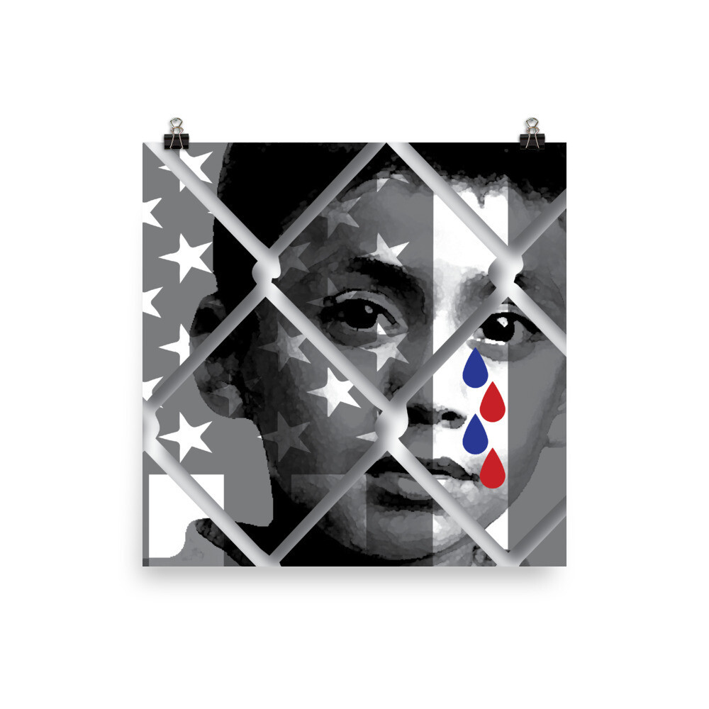 Caged Child Shedding Red and Blue Tears, Museum-quality matte poster
