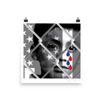 (Signed copy). Caged Child Shedding Red and Blue Tears, Museum-quality matte poster.