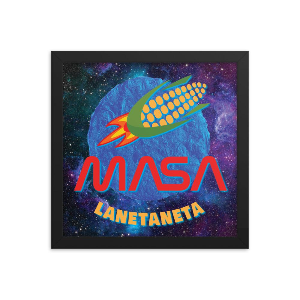 Framed photo paper poster. MASA with CornShip over Blue Corn Tortilla.