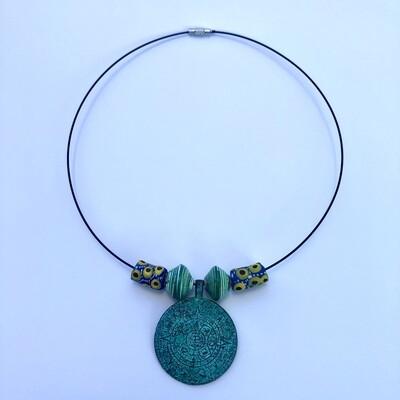 Aztec Calendar Choker Necklace