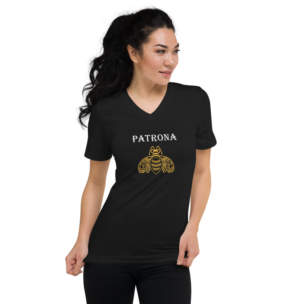 PATRONA. Unisex Short Sleeve V-Neck T-Shirt
