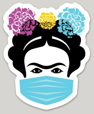 Frida with Mask sticker. Famous Mexican woman artist with face protection design