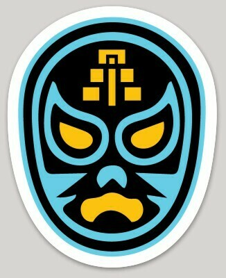 Lucha Libre Mask Sticker, Mexican wrestling mask, Mayan temple sticker