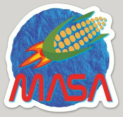 MASA, Cornship design, NASA, Space, Blue Corn Tortilla, Mayan Astronomy, laptop, iPhone cell phone Decal, water bottle sticker