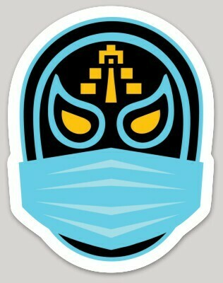 Lucha Libre, Mexican Wrestling, Mask, face mask, Mayan Temple, Blue Demond, laptop, iPhone Decal, Cell phone, water bottle Mexican sticker