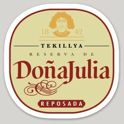 DoñaJulia, tequila, tekillya, la Mera Mera, La Doña, La Jefa, Female Boss, patrona, laptop, iPhone cell phone Decal, water bottle sticker