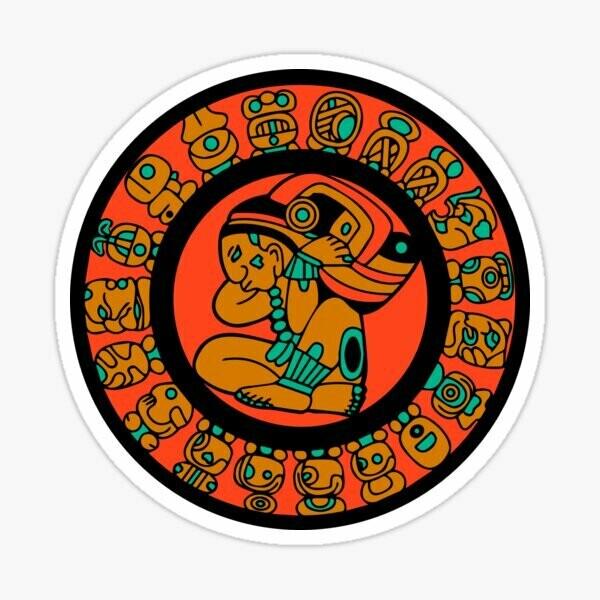 Mayan Calendar, Mexican sticker, glyph, laptop, water bottle, laptop, iPhone cell phone Decal, water bottle sticker