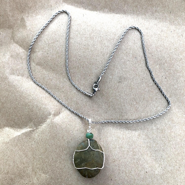 Piedra Verde, Green Stone Wire Wrapped, Handmade Pendant