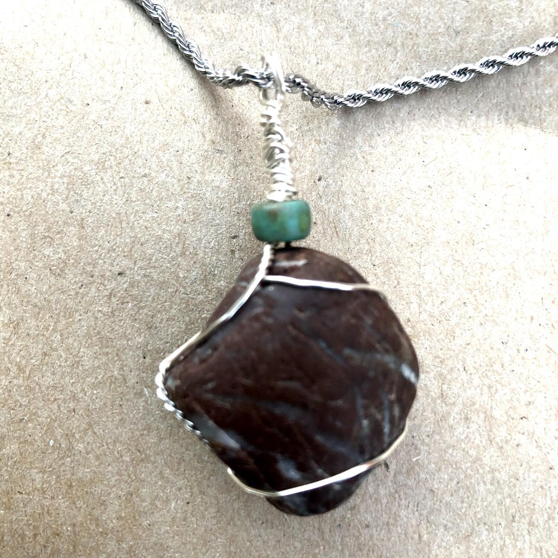 Chocolate Beach Rock Handmade Pendant