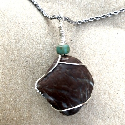 Fossilized Gem Stone, Wire Wrapped, Handmade Pendant