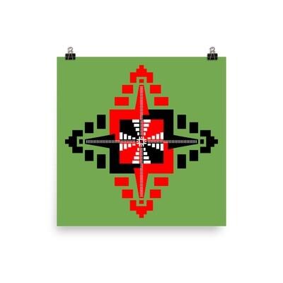 Mayan Temples Mandala Poster