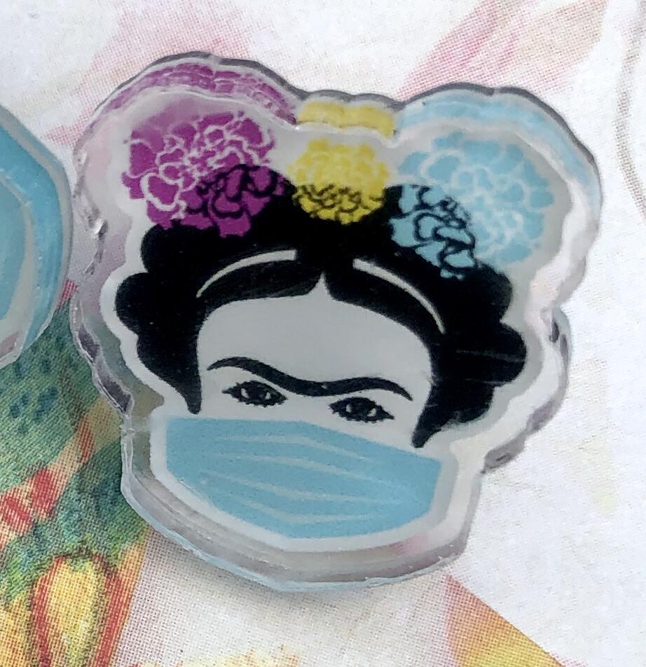 Frida with Mask Flexi Glass pin, Famous Mexican woman artist, Chingona, La Mera Mera, Cabrona, Chingona