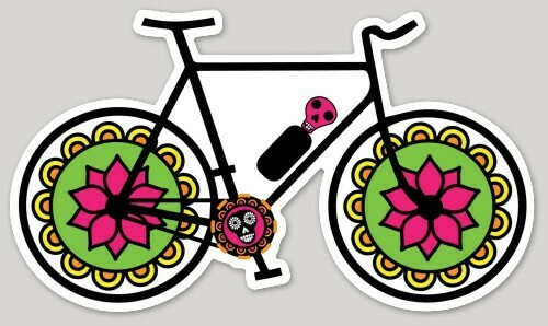 Día de Muertos, Day of The Dead Bike, Bicycle, Mexican art, Cycling, laptop, iPhone Decal, Cell phone, water bottle Mexican sticker