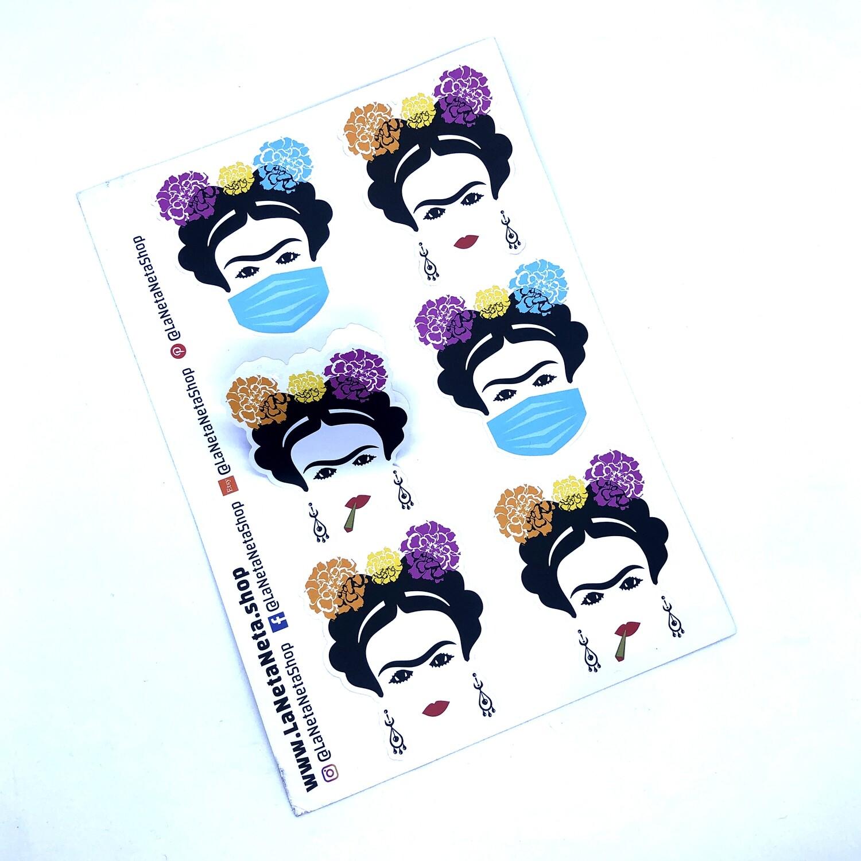 Frida 6-up Sticker Sheet. Famous Mexican female artist, Latina, Chingona, La Mera Mera, water bottle stickers