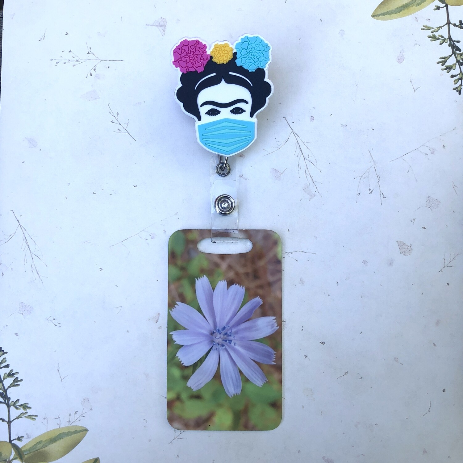 Frida With Mask design with heavy duty metal Badge/ID reel. Cabrona, Chingona, Mexican Woman Artist ID holder