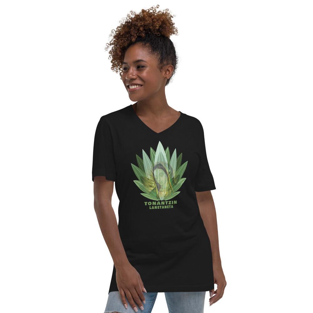 Tonantzin, Guadalupe, Unisex Short Sleeve V-Neck T-Shirt
