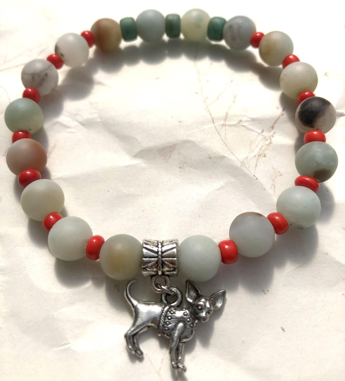 Sacred Chihuahua, good luck amulet, anti-evil eye charm bracelet