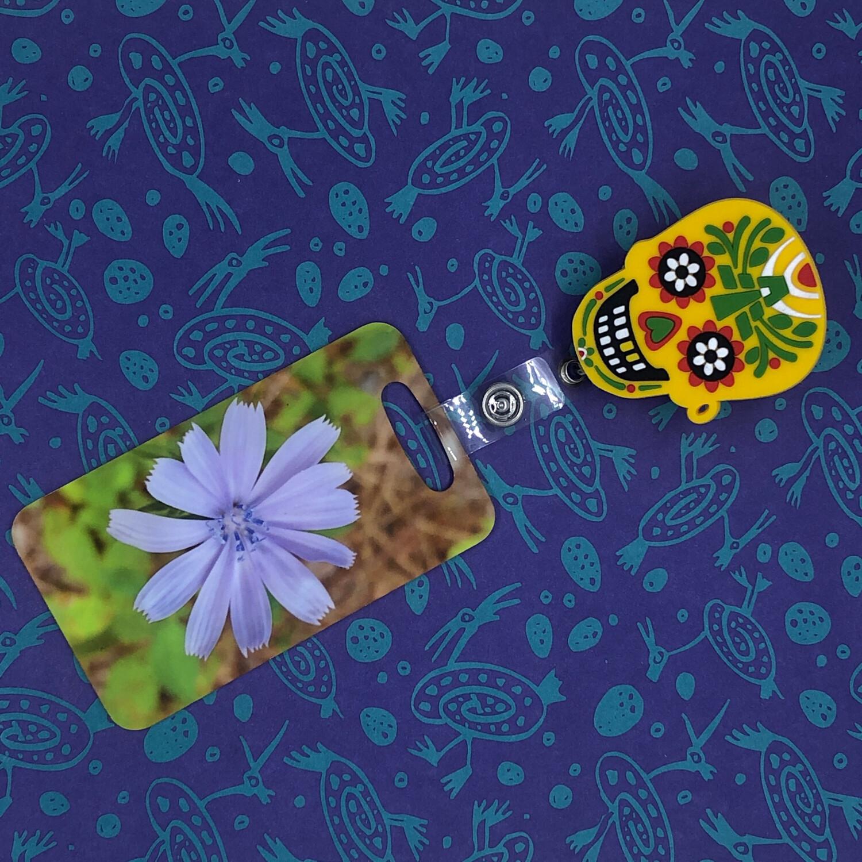 Day of The Dead Skull design with heavy duty metal reel. Mayan Temple Skull,  2 x 1.5 inch Latina Latino Nurse badge ID holder