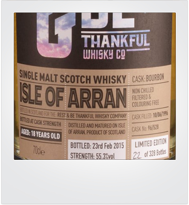 "Arran 18 Years Old (1996-2015) ""Rest & Be Thankfull"" [sample]"