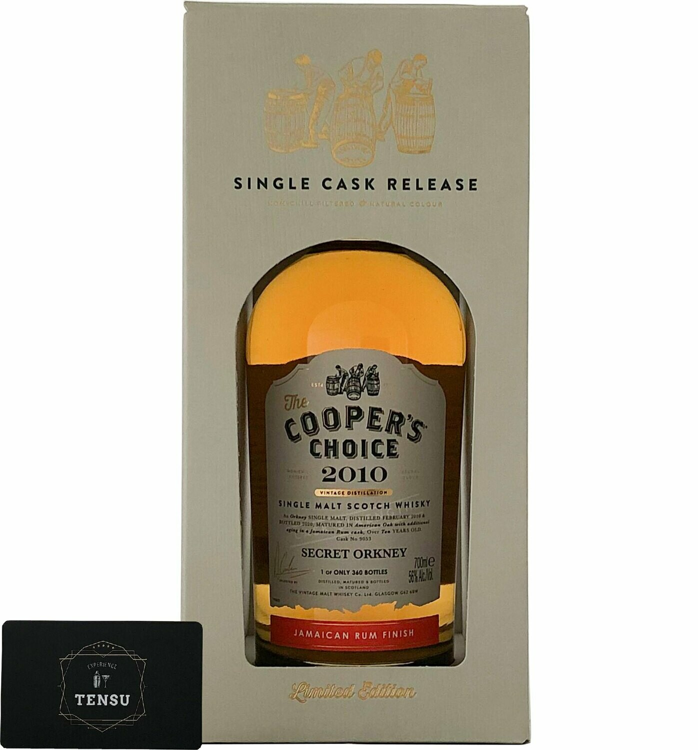 """Secret Orkney 10 Years Old (2001-2020) Jamaican Rum Finish 56.0 """"Cooper's Choice"""""""